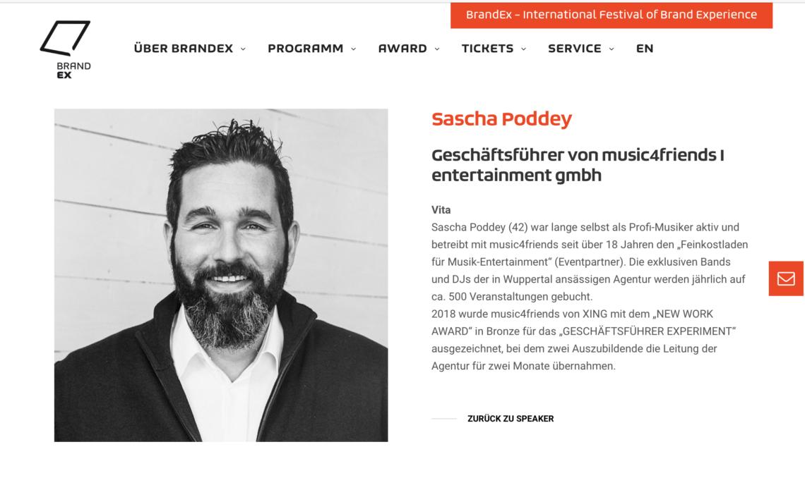 Sascha Poddey Ist Speaker Beim Brand Ex Festival Music4friends